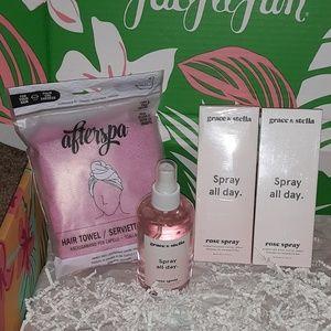Beauty Bundle - 3 Rose Sprays & 1 Hair Towel Wrap
